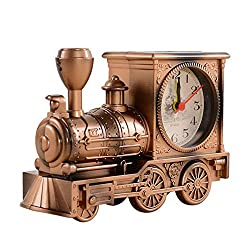 Teepao Old Fashioned Alarm Clock Novelty Alarm Clocks Battery Operated Alarm Clock Vintage Alarm Clock Practical Creative Antique Alarm Clock Retro Train Locomotive Alarm Clock Desktop