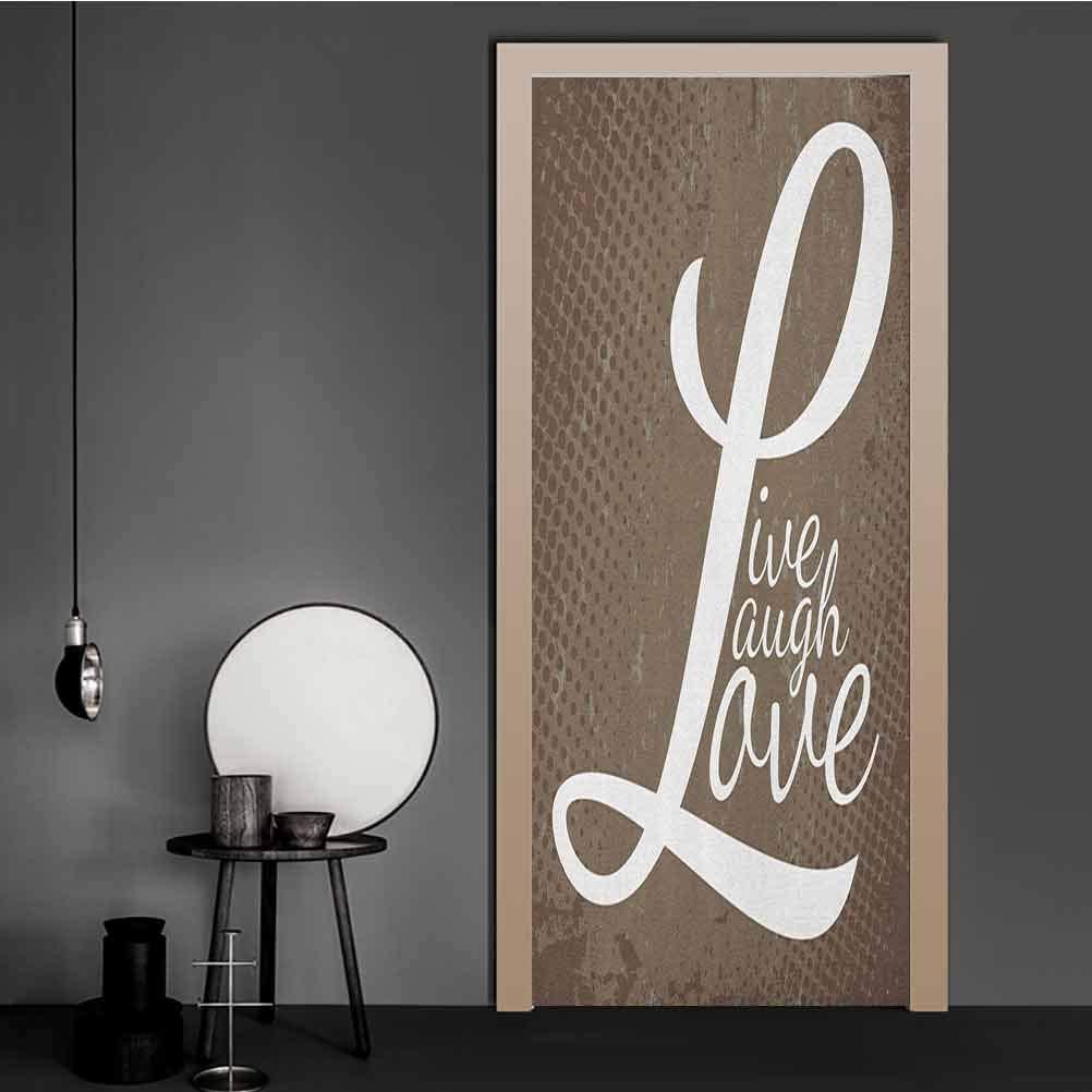 Amazon.com: Door Sticker Words Live Laugh Love on Halftone Worn Out Style Background Door ...