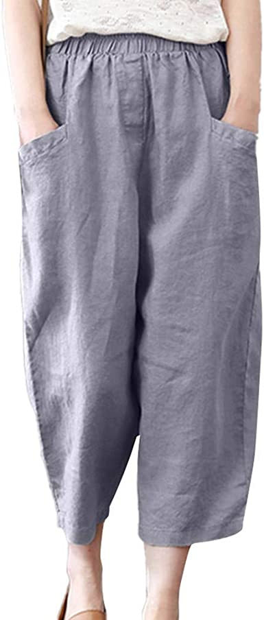 cinnamou Pantalones Mujer, Casual Pantalones Anchos Sueltos ...