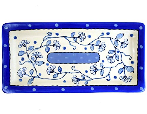 """Delft-Style Wildflower Blue 12.75"""" Everyday Tray, American Handmade Terra Cotta Pottery"""
