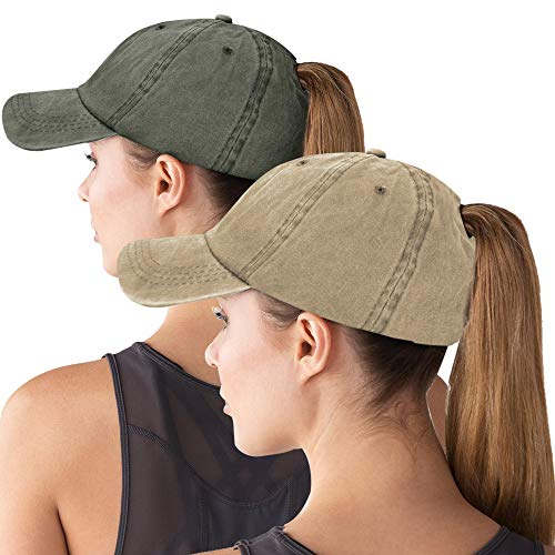 Army Baseball Cap Hat - Women Baseball Cap Ponytail High Bun Hat Glitter Messy Sun Hat Washed Cotton Adjustable Trucker Hat for Girl 2pack-Army Green&Khaki
