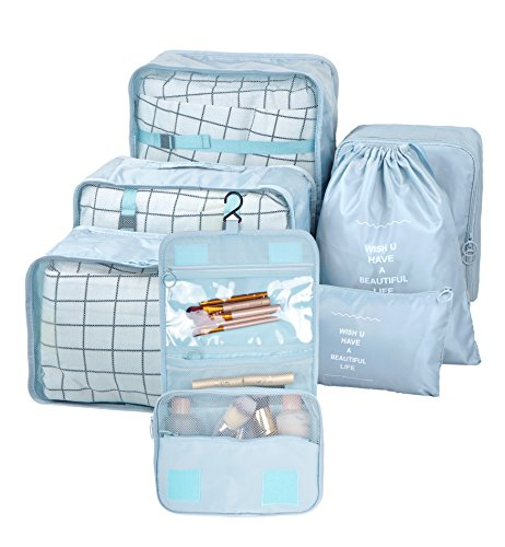 Vercord 7 Set Assorted Packing Organizers, Travel Luggage Mesh Packing Cubes & Underwears Packing Cube & Cosmetics Case & Shoes Makeup Bags, Grey Blue ()