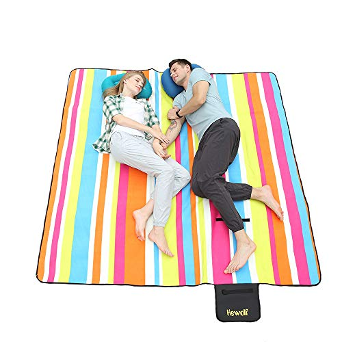 Hewolf Extra Large Picnic Blanket - Waterproof 79×79 Picnic Mat Folding Portable Tote for Family Camping Concert Indoor and Outdoor (Rainbow Picnic Blanket, 79×79)