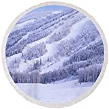 Pixels Round Beach Towel With Tassels featuring ''Mountains, Snow, Steamboat Springs'' by Pixels