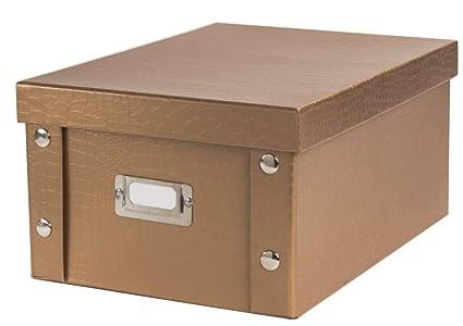 pas mal 7aa00 dac7d Compactor Croco Boîte de Rangement avec Couvercle, pour Documents A4, 24 x  32.5 x 16 cm, Carton, Cuivre, 32.5 x 24 x 16 cm