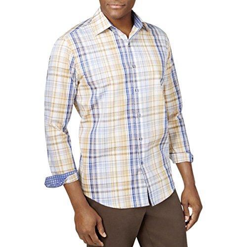 Tasso Elba Mens Plaid Button Front Dress Shirt Blue M -
