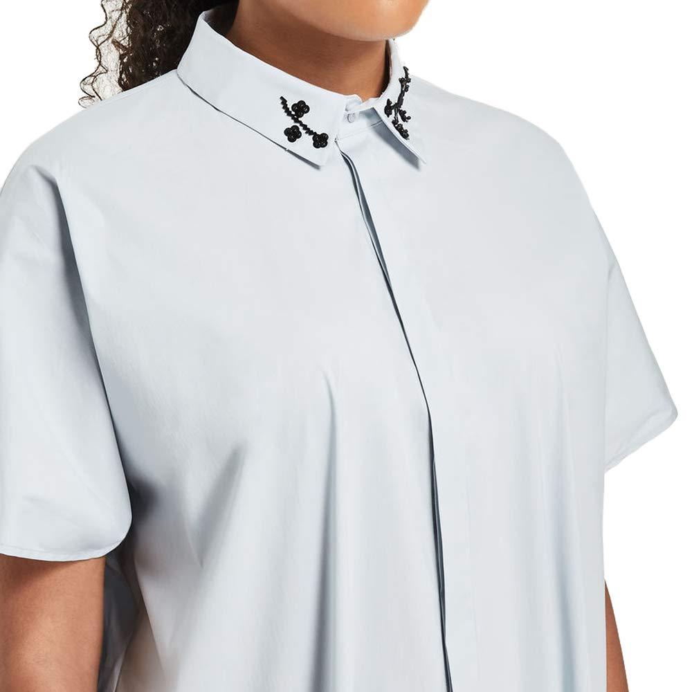 Marina Rinaldi Womens Benny Embellished Collar Blouse 29 20W Pale Blue