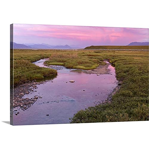 """GREATBIGCANVAS Gallery-Wrapped Canvas Entitled Sunset Light Reflecting in Sagavanirktok River with Trans Alaska Pipeline by 18""""x12"""""""