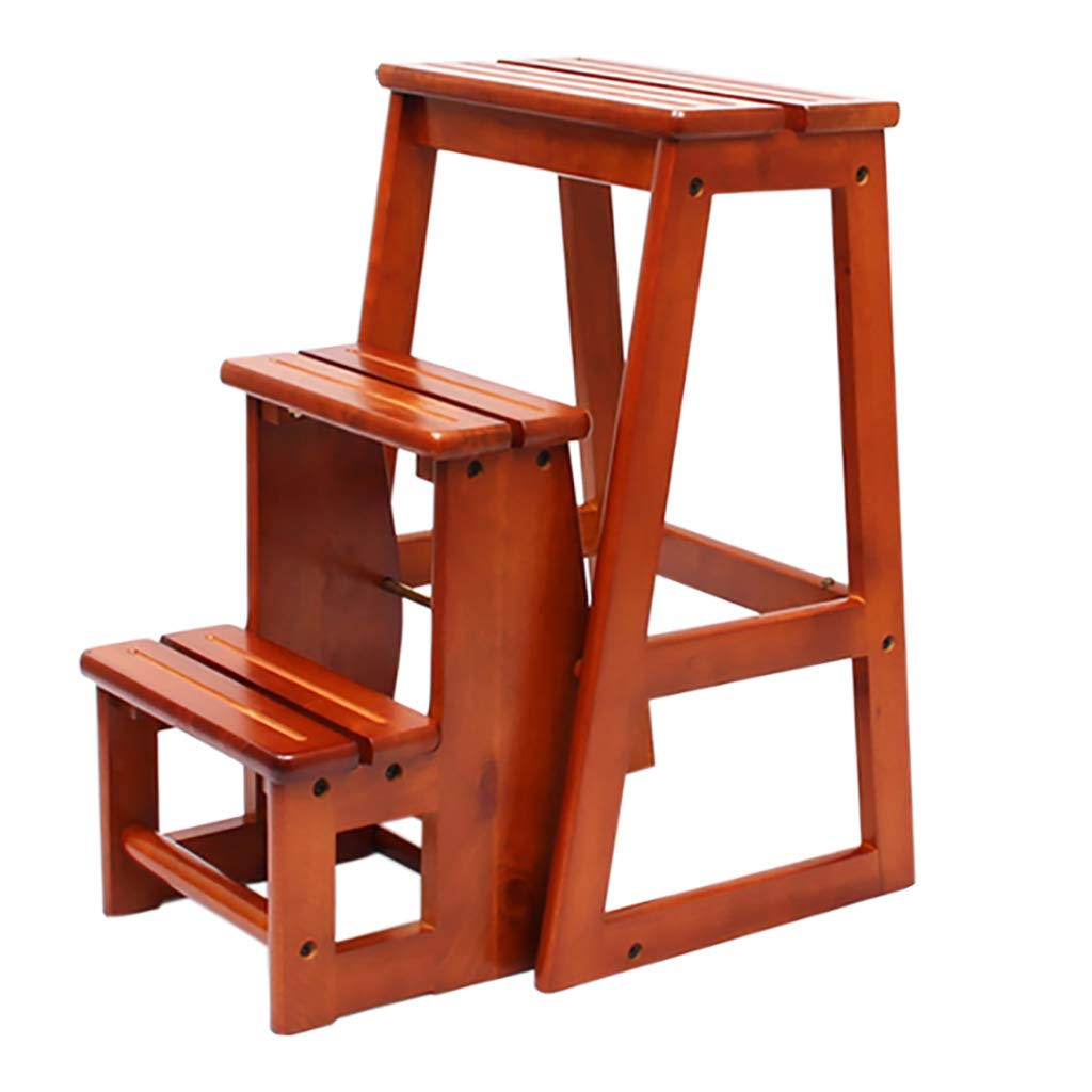 A Step Stool Folding Ladder wood Portable Simple 3 Steps Climbing Stool Step Stools (color   B)
