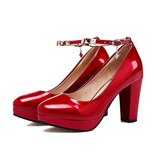 AllhqFashion Mujer Puntera Redonda Sólido Charol Tacón Alto Hebilla Puntera Cerrada De salón Rojo