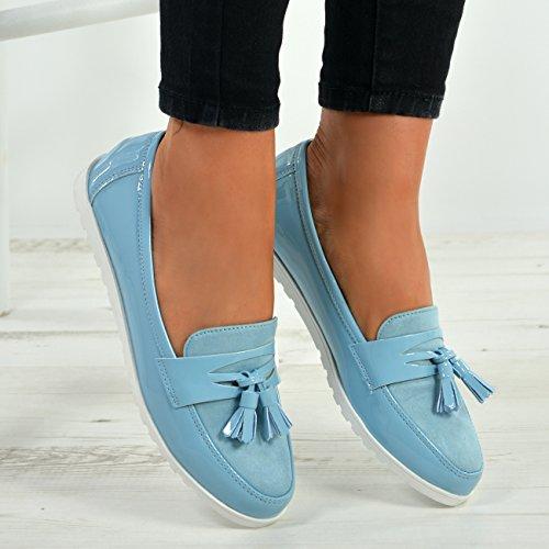Ladies on Blue Fashion UK Flats Ballerina Womens 8 Slip Size Cucu New Shoes Patent Fringe 3 qdXwFqtZ
