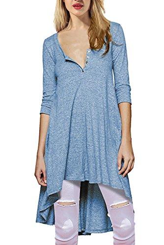Women's Shirt Dress High Low Long Shirts Casual Tunic Tops for Leggings Blue S