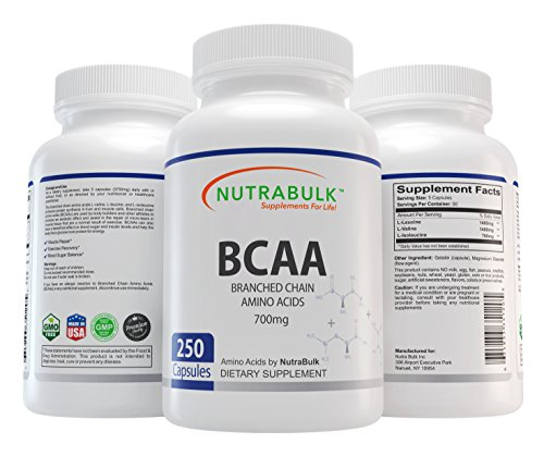 NutraBulk Premium BCAA (Branched-Chain Amino Acid) 700mg Capsules - 250 Count