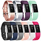 Vancle Replacement Bands Compatible for Fitbit Charge 2, Classic & Special Edition Adjustable Sport Wristbands for Women Men (#10 Colors Classic-C, Small)