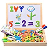 colored shapes - Innocheer Wooden Magnetic Puzzles, Letters/Numbers/Shape 110 Pieces with 5 Colored Dry Erase Markers Set - Learning & Educational Game Toy for Kids