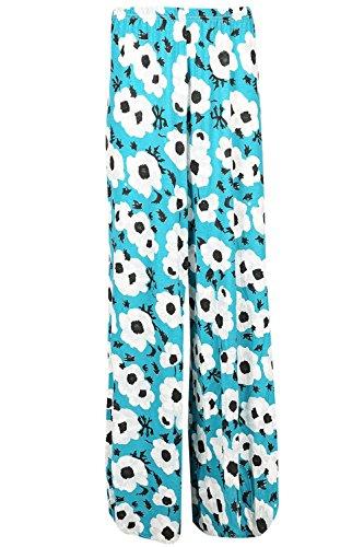 Be Jealous Floral femmes rayures imprimé Palazzo Jambe Large pantalon évasé jambe large en vrac bouffant Leggings pantalon - fleur blanche bleu, Plus Size (UK 24/26)