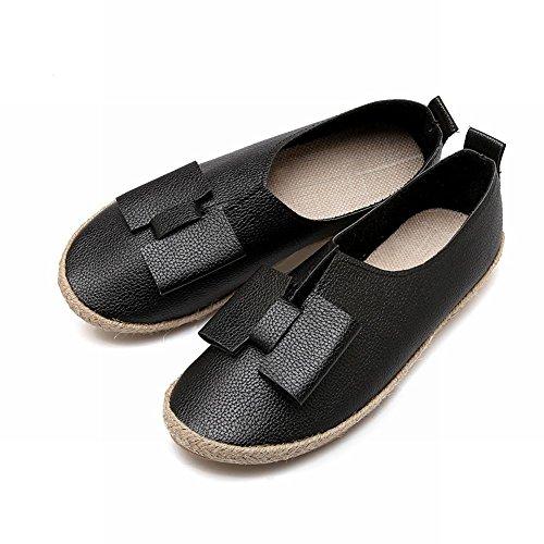 Latasa Damesschoenen Geweven Casual Slip Op Comfort Flats Schoenen Zwart