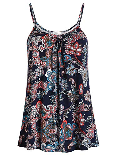 Paisley Cami - Esenchel Women's Loose Cami Tank Top Casual Camisole XL Paisley Floral