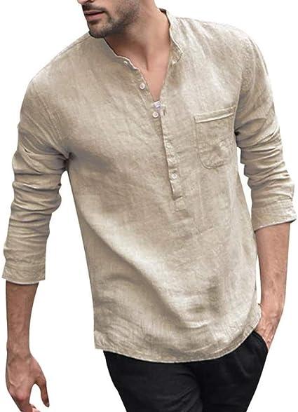 Skrowhn Camisa de color sólido camisa de algodón con botones ...