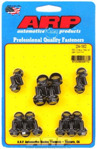 ARP 234-1802 Oil Pan Bolt Kit (Black Oxide Hex) Chevrolet All Models (1802 Oil Pan Bolts)