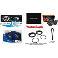 Aquatic AV AQ-MP-5UBT-HS Harley-Davidson Stereo & Hertz ECX1655 6.5 Speakers & Rockford PBR300X4 4-Channel Amplifier w/Speaker Adapter & Installer Series Amp Kit & SOTS Lanyard