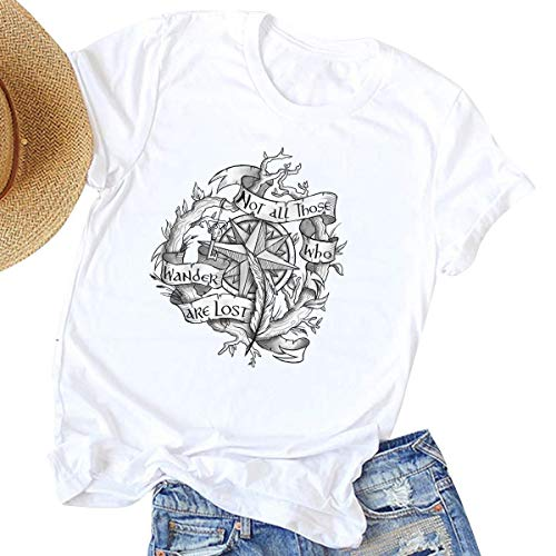 Not All Who Wander are Lost Women Travel T Shirt Compass Graphic Baseball Tee Short Sleeve Cotton Casual Tops (M, White)