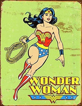 UNiQ Designs Vintage Wonder Woman Retro Tin Sign Wonder Woman Accessories - Wonder Woman Wall Art - Woman Cave signs and Decor - Wonder Woman Poster Discount - Wonder Woman Decor Retro Poster 12x8 -