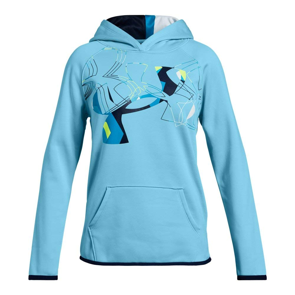 Under Armour Girls Armour Fleece Print Fill Logo Hoodie , Venetian Blue (448)/Academy, Youth Small by Under Armour