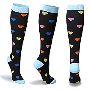 MUM'S MEMORY Graduated Compression Socks for Women and Men, Moderate Compression Stockings for Running, CrossFit, Travel Suits, Nurse, Shin Splints, 20-30 mm, Small, Medium, Heart