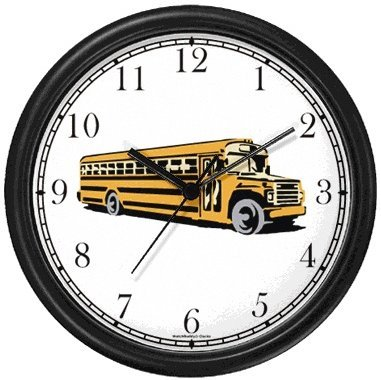 Yellow School Bus No1 Wall Clock By Watchbuddy Timepieces White