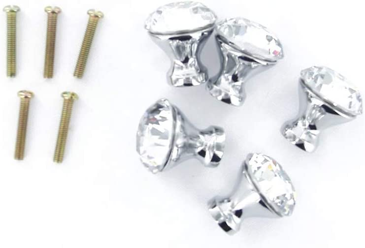 Vosarea 12Pcs 25mm Crystal Knob Cupboard Cabinet Wardrobe Drawer Pull Handle