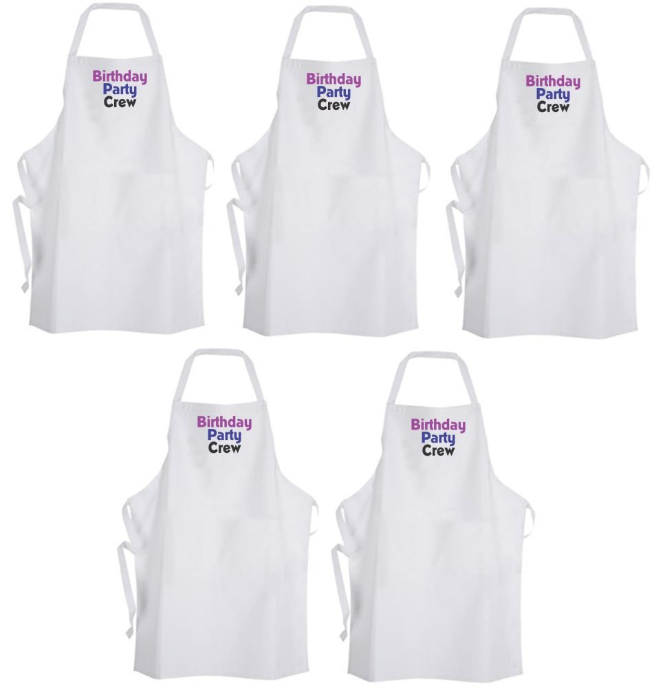 QTY 5 Birthday Party Crew (Purple & Blue) Adult Size Aprons – Celebrate