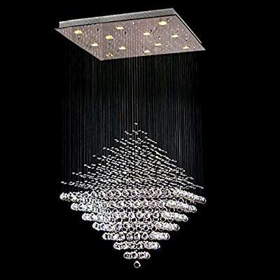 "Saint Mossi Modern Crystal Raindrop Chandelier Lighting Flush mount LED Ceiling Light Fixture Pendant Lamp for Dining Room Bathroom Bedroom Livingroom 9 GU10 Bulbs Required H55"" X W24"" X L24"""