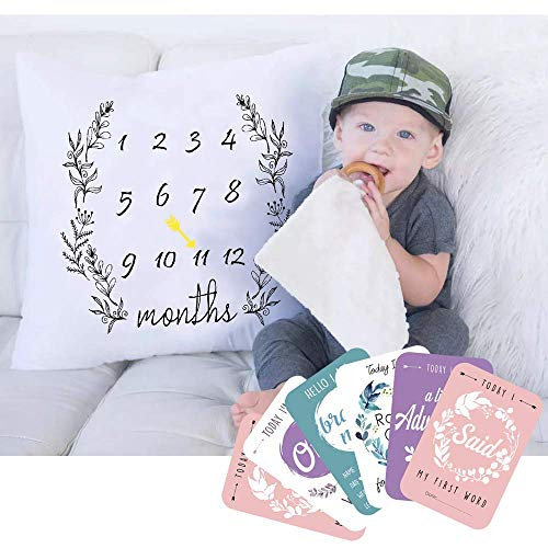 Baby Milestone Monthly Pillowcase | Buy 1 Get 6 Baby Milestone Cards | Baby Shower | New Baby Gift | Unisex | Gen Neutral Colours Pillowcase | Babies First Year Cards| Newborn Baby Gift