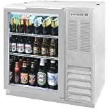Beverage-Air BB36GF-1-S-27 36'' One Glass Door Food Rated Back Bar Refrigerator 8.8 cu. ft. Capacity with Stainless Steel Exterior Finish Side Mounted Compressor and 2'' Stainle