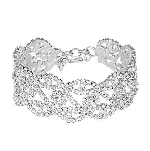 Miraculous Garden Silver Plated Crystal Rhinestone Link Tennis Bracelet for Women Wedding Jewelry Gift (1)