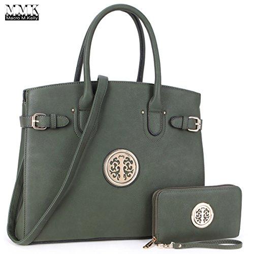 MMK Collection Fashion Satchel handbags with Matching wallet?6279w)~Designer Purse for Women~New arrvial Handbags~ Perfect Women Purse and wallet~ Beautiful Designer Handbag Set