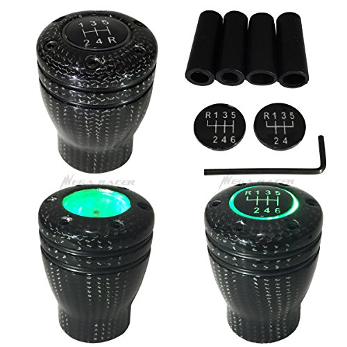 Mega Racer Carbon Fiber Manual Transmission Speed 5 6 Green LED Light Gear Stick Shift Knob JDM Style Auto US Shifter Console - Transmission Drive Speed 5