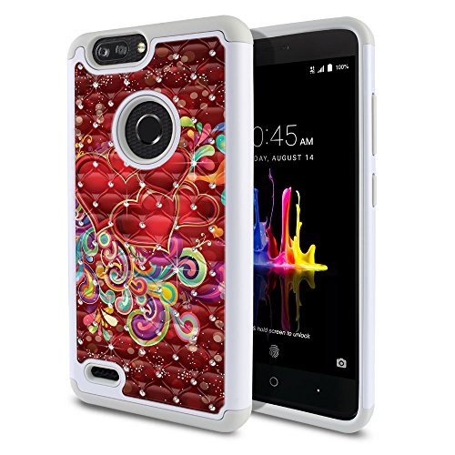 FINCIBO Case Compatible with ZTE Blade Z Max Z982/ Sequoia, Dual Layer Shock Proof Hybrid Protector Case Cover TPU Sparkle Rhinestone Bling for Blade Z Max Z982 - Red Hearts with Colorful Swirls