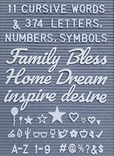(Letter Board Words and Extra Letters Set - 11 Cursive Words & 374 Letters, Numbers,Symbols & Emoji's for Felt Board, Marquee Sign, Word Board or Sign Board with Bonus Storage)
