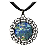 GiftJewelryShop Ancient Style Silver Plate Monet Water Lilies Floral Hoop Charm Pendant Necklace