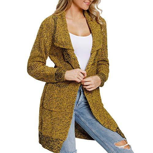 Aiweijia ファッション冬のロングスリーブレディースオープンフロントセーターポケットカーディガンコート