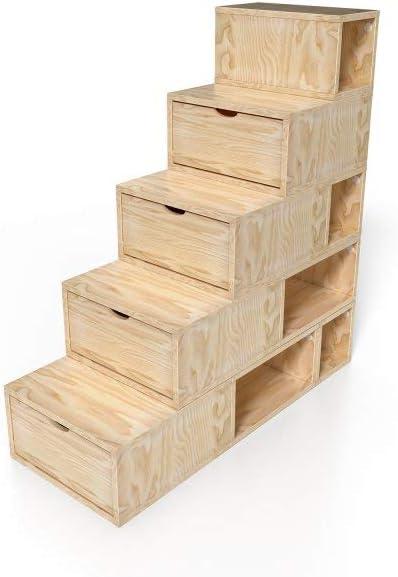 125 Rangement Cube de ABC cm Hauteur Escalier MEUBLES TPukiOXZ