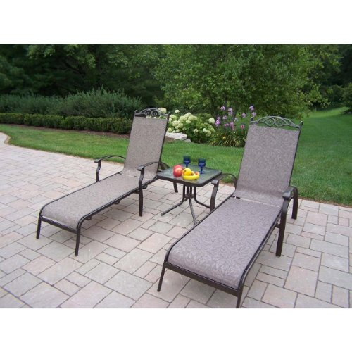 Oakland Living Cascade Sling 3-Piece Coffee Chaise Lounge Set with 2 Chaise Lounges and 20-Inch End Table