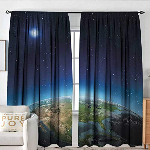 Petpany Blackout Curtains Earth,North America Continent on Globe Earth Galaxy Milky Way Realistic View,Indigo Pale Blue Green,Rod Pocket Curtain Panels for Bedroom & Kitchen 120