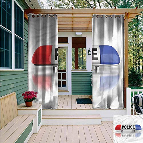 (Beihai1Sun Outdoor Curtains,Police Police Car Sirens Blue,for Patio/Front Porch,W108x108L)