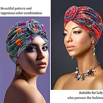 SATINIOR 6 Pieces Women African Turban Flower Knot Pre-Tied Bonnet Beanie Cap Headwrap