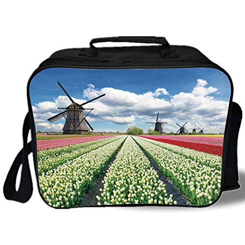 Insulated Lunch Bag,Windmill Decor,Vibrant Blooming Meadow Farmland Scenic Cloudy Sky The Netherlands Heritage Decorative,Multicolor,for Work/School/Picnic, Grey