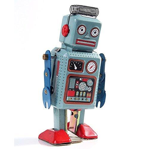 Clockwork Wind Up Metal Walking ROBOT TIN Toy Retro Vintage Mechanical Kids Gift ()