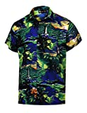 Virgin Crafts Men's Button Down Hawaiian Short Sleeve Small Palm Print Summer Vacation Shirt, Bluem, 3XL | Chest: 58''